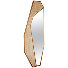 Original Laminated Mirror Mixed with Handcrafted Straw Finish, Mirror Cactus