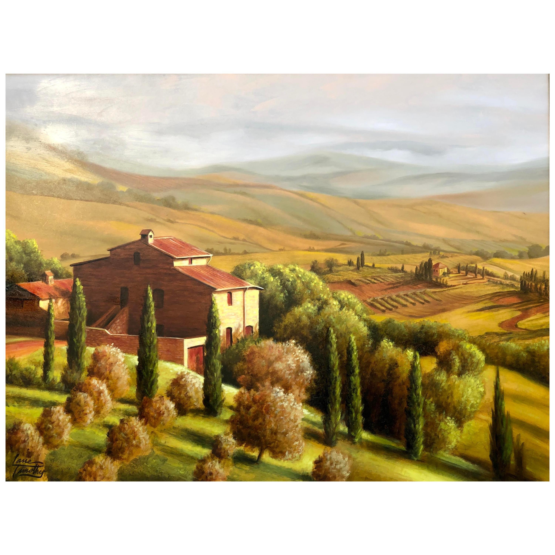 "Original Lane Timothy Landscape Oil Painting Entitled ""The Villa"""