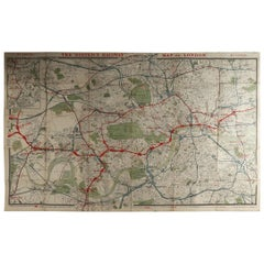 Original Large Antique Folding Map of London, UK, Dated 1898