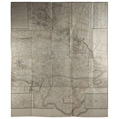 Original Large Antique Folding Map of Manchester, UK, Dated 1793