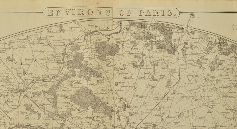 Fabulous monochrome map of Paris.  Vignettes of St Germain En Laye, Saint Cloud, Versailles and Fontainbleau.  Unframed.  Drawn by J.Dower.  Lithography by Weller. 4 sheets joined together.  Published 1861  Good condition. No repairs.