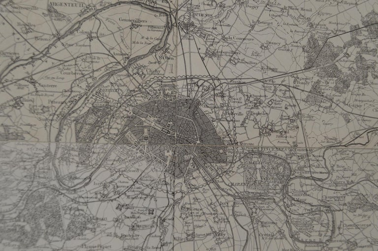 Original Large Antique Map of Paris, France by John Dower, 1861. 1