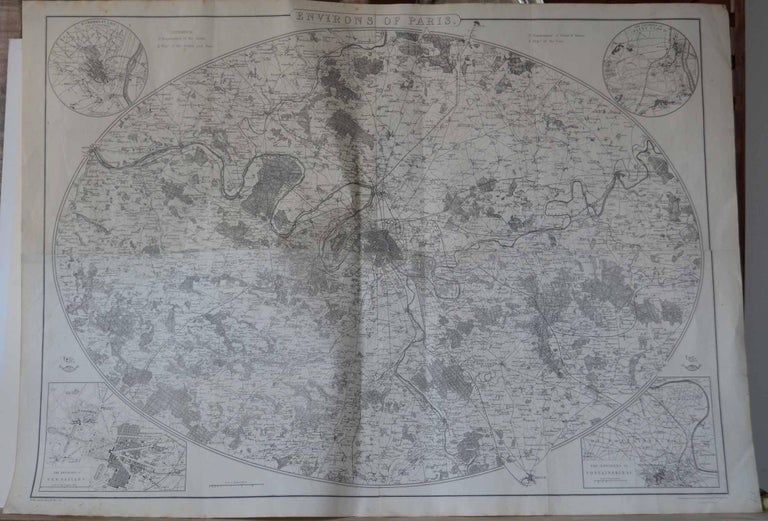 Fabulous monochrome map of Paris.  Vignettes of St Germain En Laye, Saint Cloud, Versailles and Fontainbleau.  Unframed.  Drawn by J.Dower.  Lithography by Weller. 4 sheets joined together.  Published, 1861  Good condition. No