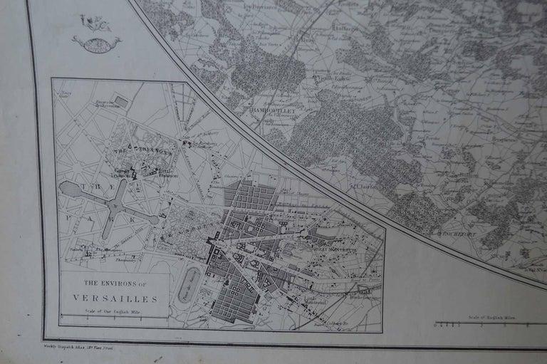 Victorian Original Large Antique Map of Paris, France by John Dower, 1861 For Sale