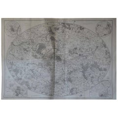 Original Large Antique Map of Paris, France by John Dower, 1861