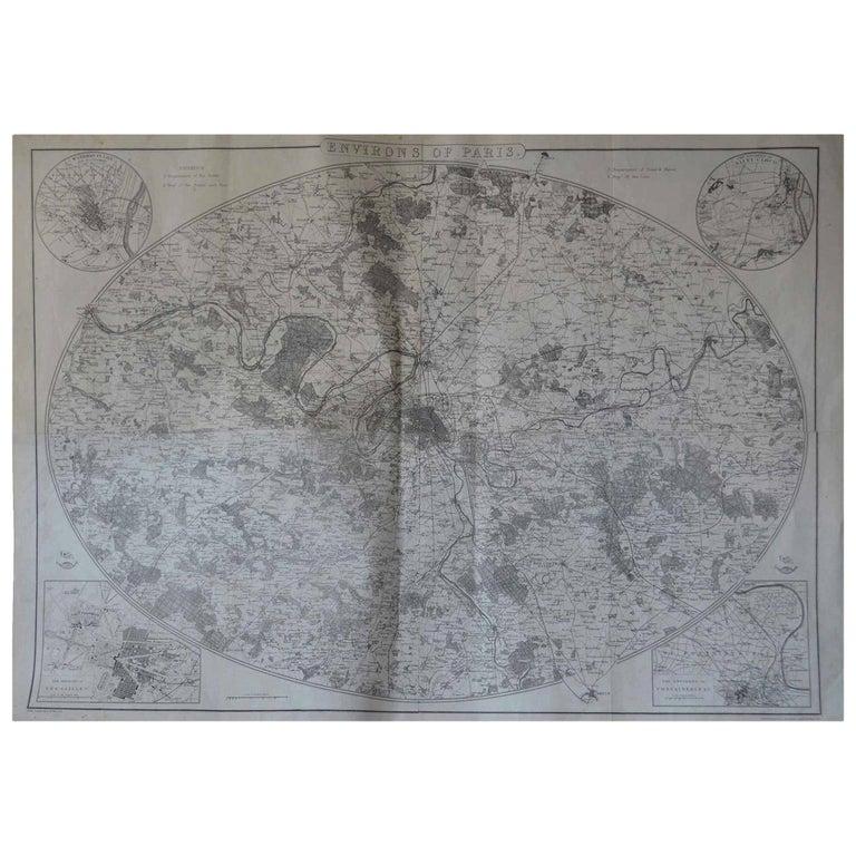 Original Large Antique Map of Paris, France by John Dower, 1861 For Sale