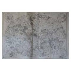 Original Large Antique Map of Paris, France by John Dower, 1861