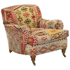 Original Large George Smith Signature Scroll Arm Kilim Upholstery Aztec Armchair