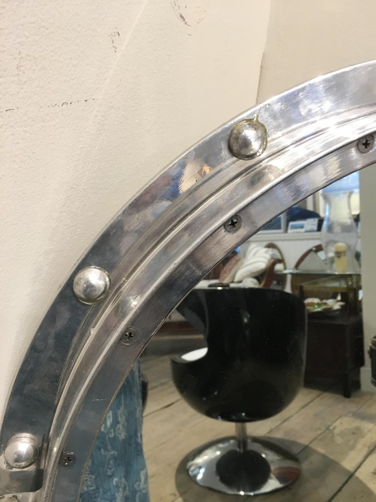 Industrial Original, Large Ship's Chrome Porthole Window Converted to Mirror, 1960s For Sale