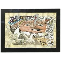Original 'L'homme L'oie L'oiseau Le Chat' Figurative Fantasy Painting