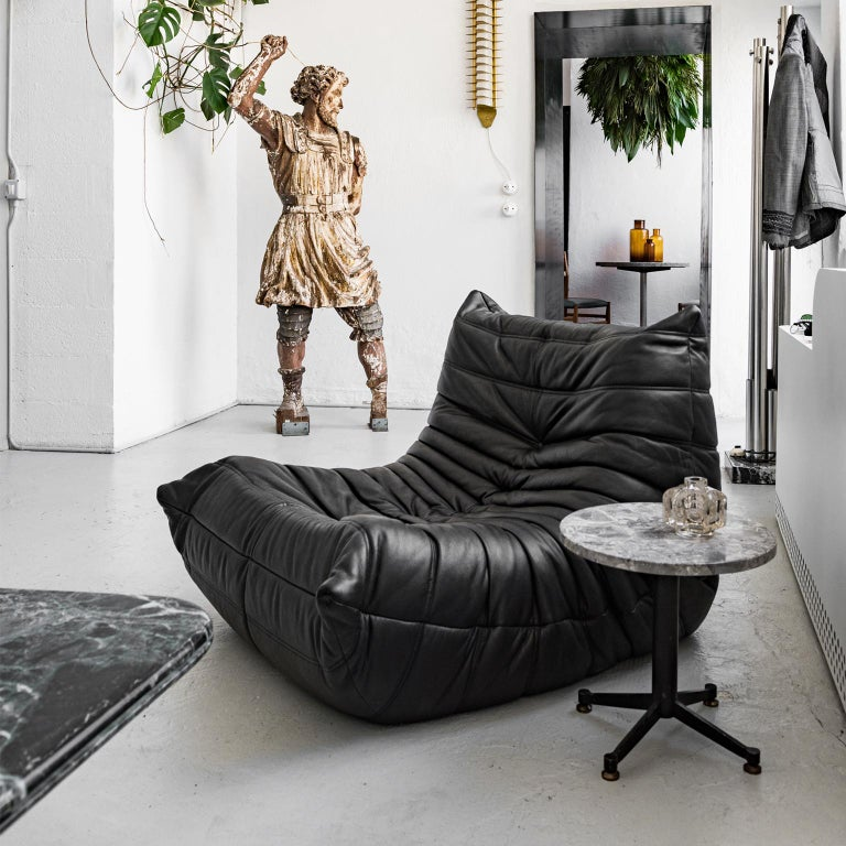 French Original Ligne Roset Togo Black Leather Lounge Chair