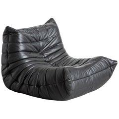 Original Ligne Roset Togo Black Leather Lounge Chair