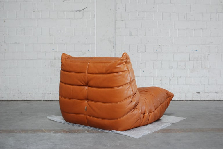 Original Ligne Roset Togo Cognac Aniline Leather Chair 13