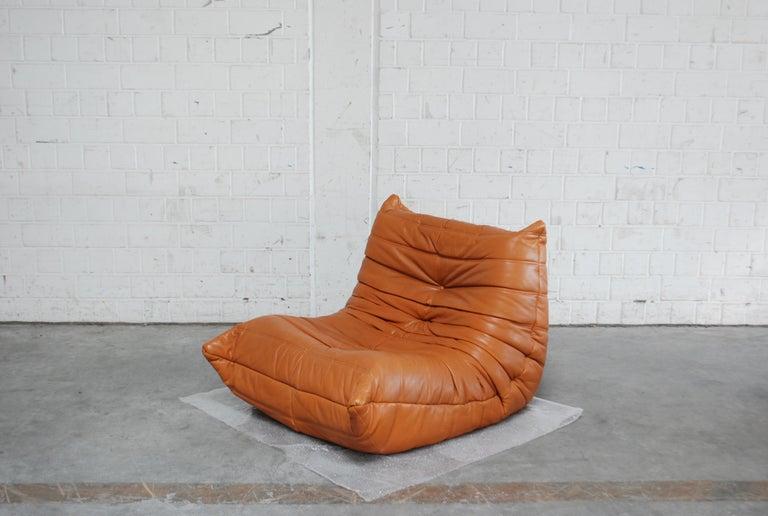 Original Ligne Roset Togo Cognac Aniline Leather Chair 16