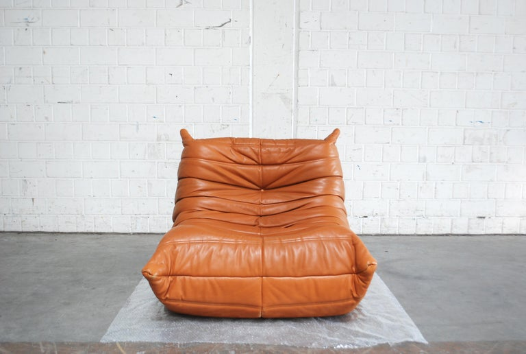 Original Ligne Roset Togo Cognac Aniline Leather Chair 18