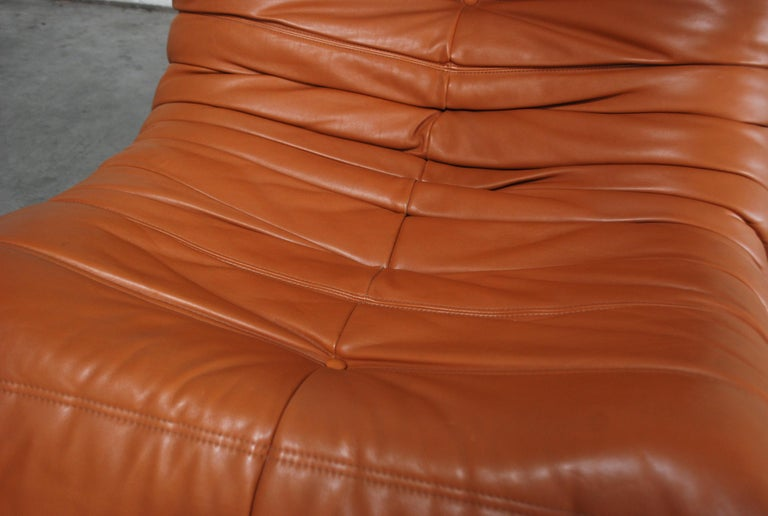 Original Ligne Roset Togo Cognac Aniline Leather Chair 19