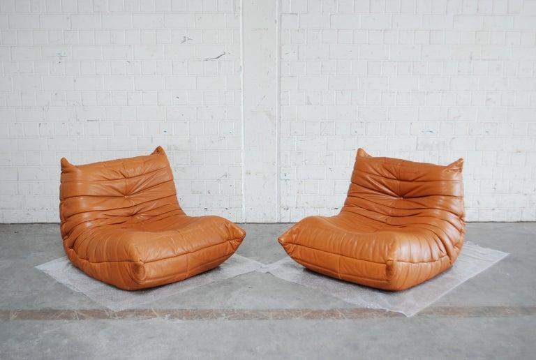 Original Ligne Roset Togo Cognac Aniline Leather Chair 2