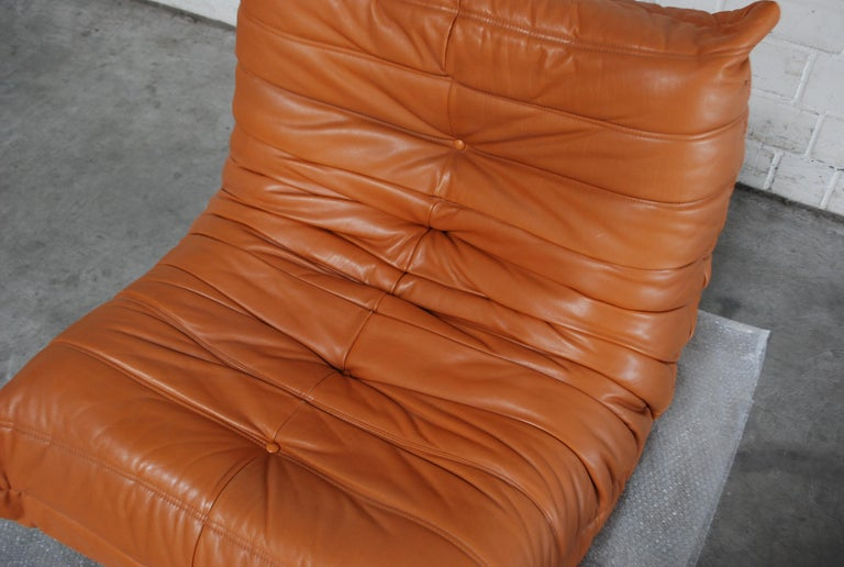 French Original Ligne Roset Togo Cognac Aniline Leather Chair For Sale