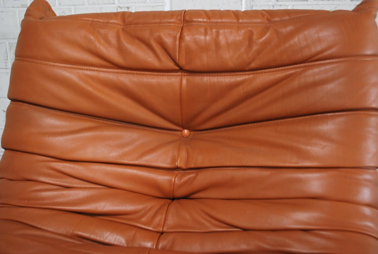 Late 20th Century Original Ligne Roset Togo Cognac Aniline Leather Chair For Sale