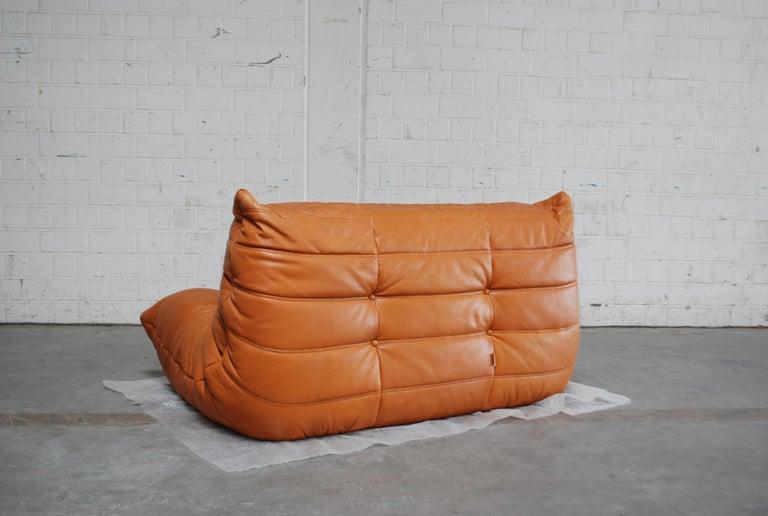 Original Ligne Roset Togo Cognac Brandy Aniline Leather Sofa 11