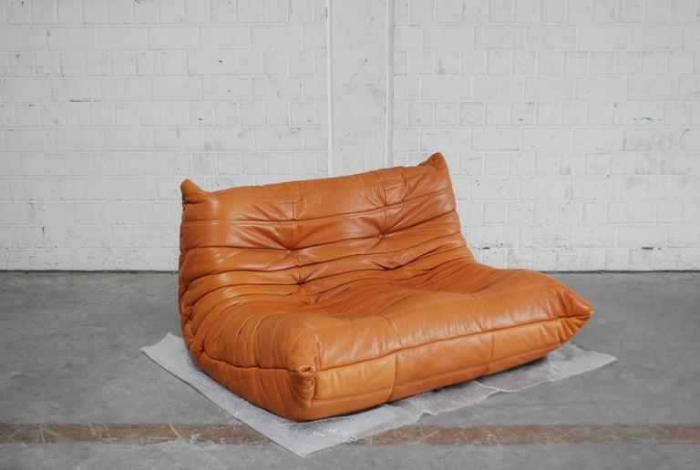 Original Ligne Roset Togo Cognac Brandy Aniline Leather Sofa 12