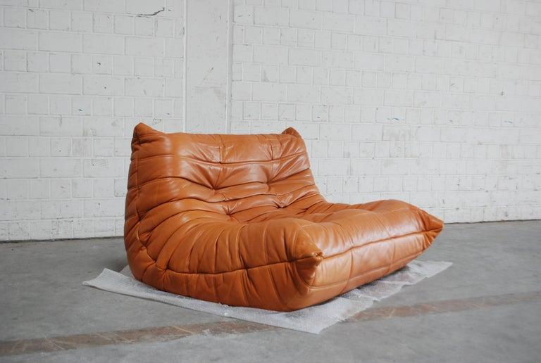 Original Ligne Roset Togo Cognac Brandy Aniline Leather Sofa 13