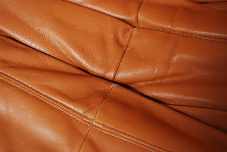 Original Ligne Roset Togo Cognac Brandy Aniline Leather Sofa 16