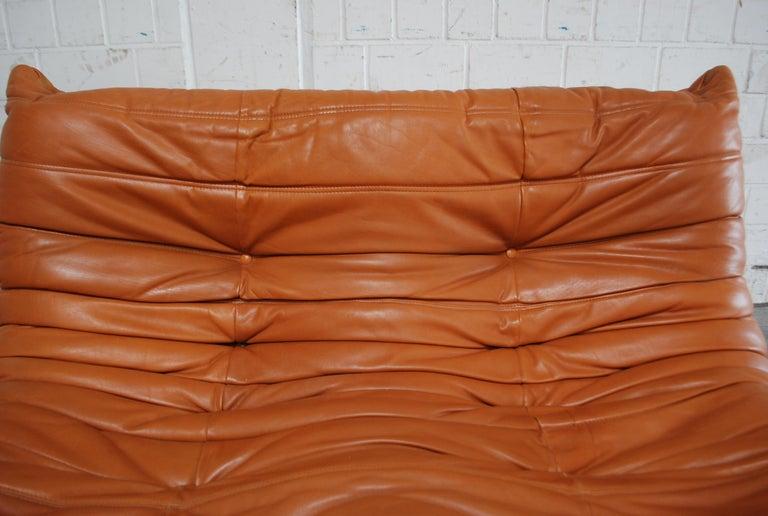 Original Ligne Roset Togo Cognac Brandy Aniline Leather Sofa 17