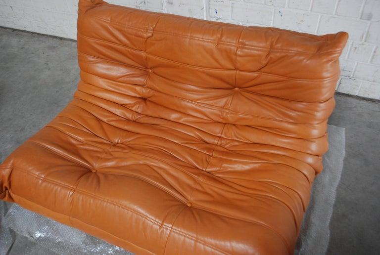 Original Ligne Roset Togo Cognac Brandy Aniline Leather Sofa 18