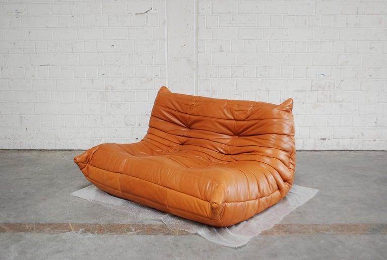 Original Ligne Roset Togo Cognac Brandy Aniline Leather Sofa 2