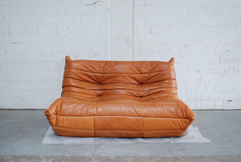 Original Ligne Roset Togo Cognac Brandy Aniline Leather Sofa 3
