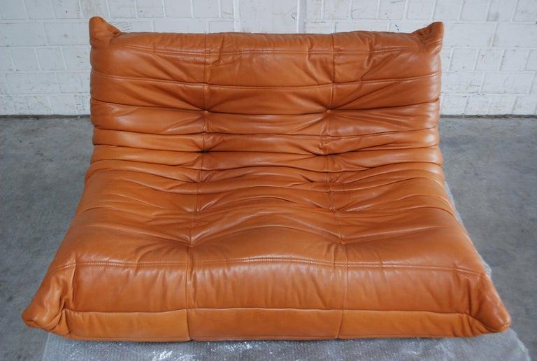 Original Ligne Roset Togo Cognac Brandy Aniline Leather Sofa 4