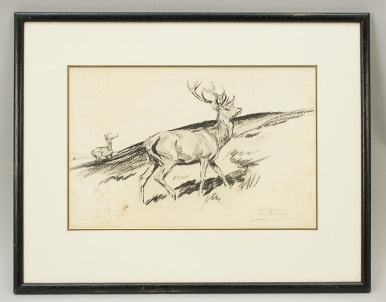 Original Lionel Edwards pencil drawing of a stag on the hill. A wonderful pencil drawing of a proud stag in the foreground with a second stag in the background. The stag picture is signed and dated by the artist Lionel Edwards, 1928. The drawing is