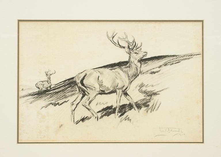 Sporting Art Original Lionel Edwards Pencil Drawing of a Stag on the Hill, Signed and Dated