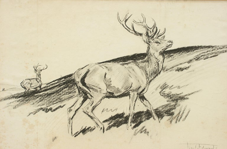 English Original Lionel Edwards Pencil Drawing of a Stag on the Hill, Signed and Dated