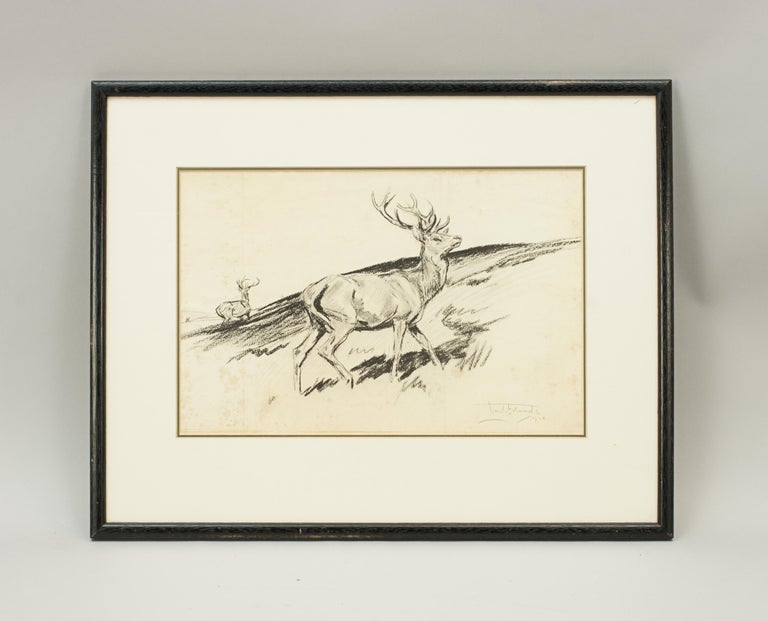 Paper Original Lionel Edwards Pencil Drawing of a Stag on the Hill, Signed and Dated