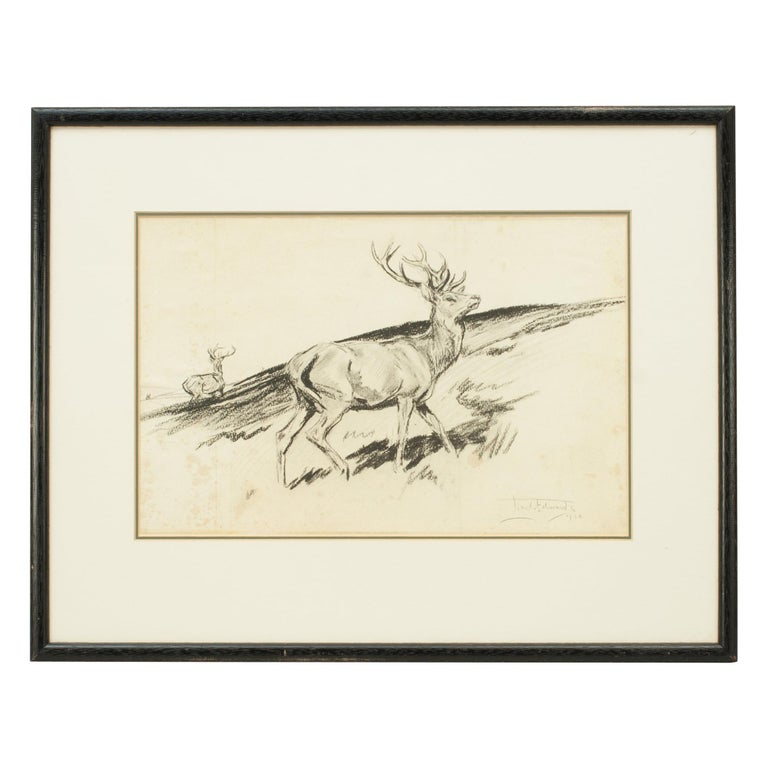Original Lionel Edwards Pencil Drawing of a Stag on the Hill, Signed and Dated