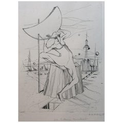 Original Surrealist Lithograph by B.A.G. Guillot
