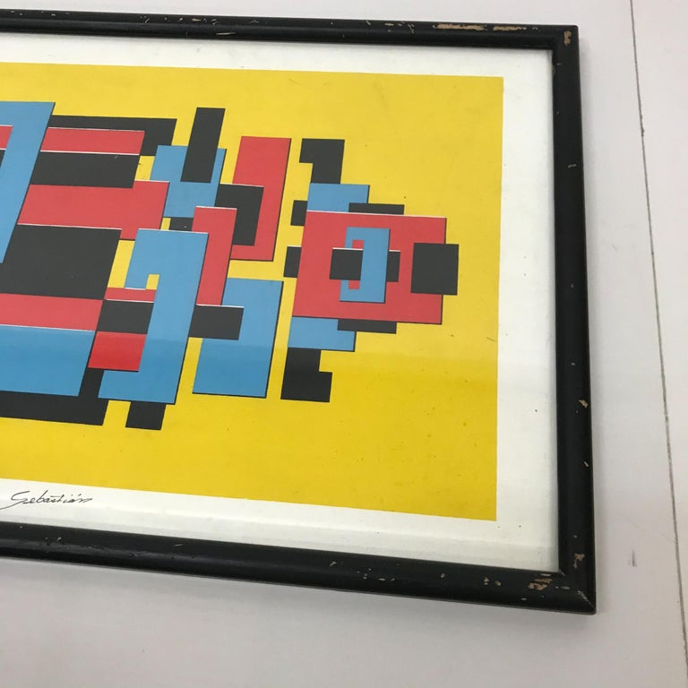 Original Lithograph by Mexican Artist Sebastian PA Abstract Untitled In Good Condition For Sale In National City, CA
