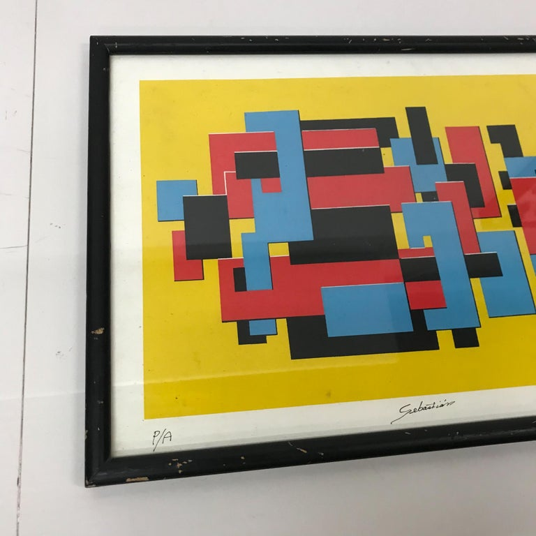 Late 20th Century Original Lithograph by Mexican Artist Sebastian PA Abstract Untitled For Sale