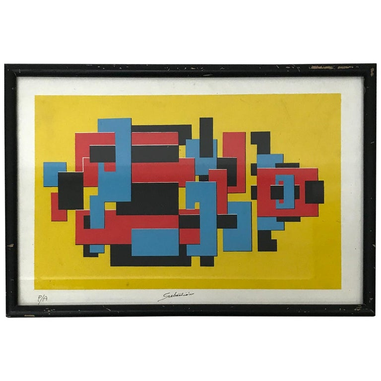 Original Lithograph by Mexican Artist Sebastian PA Abstract Untitled For Sale