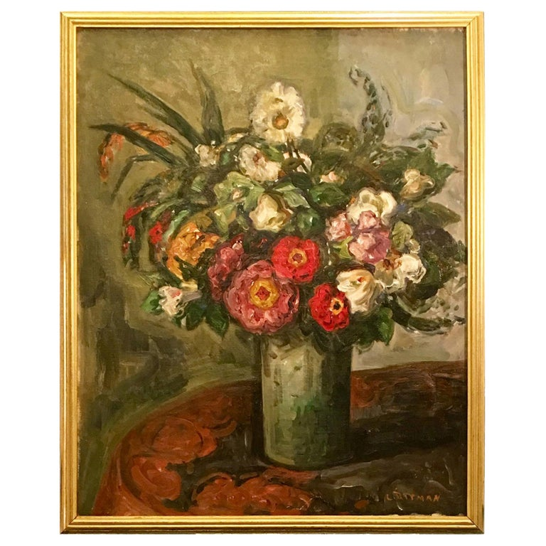Original Louis Ritman Impressionist Still Life Oil Painting of Flowers in a Vase For Sale