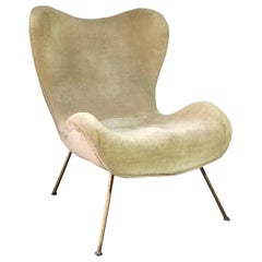 """Fritz Neth """"Madame"""" Chair with Original Beige Velvet Upholstery, Germany, 1950s"""