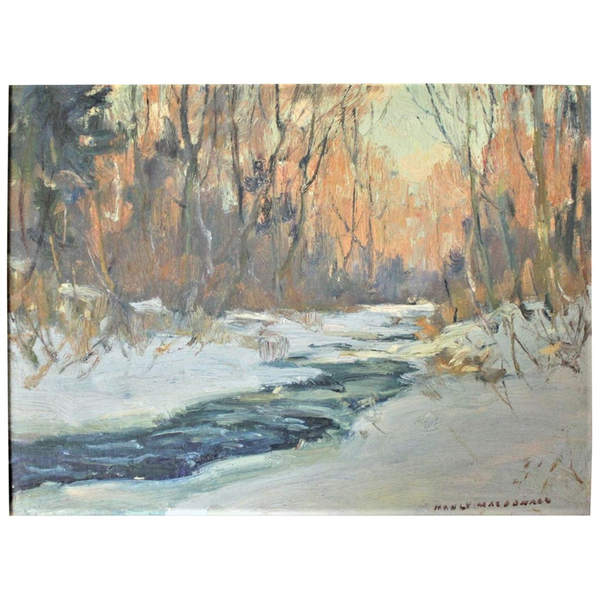 Original Manly E. MacDonald 'Canadian' Oil on Canvas Board Landscape Painting