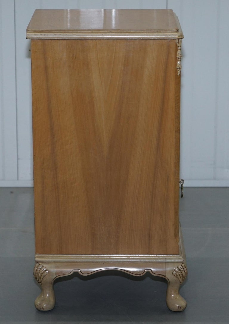 Original Maple & Co Art Deco circa 1930s Burr Walnut Bed Side Table Cabinet For Sale 3