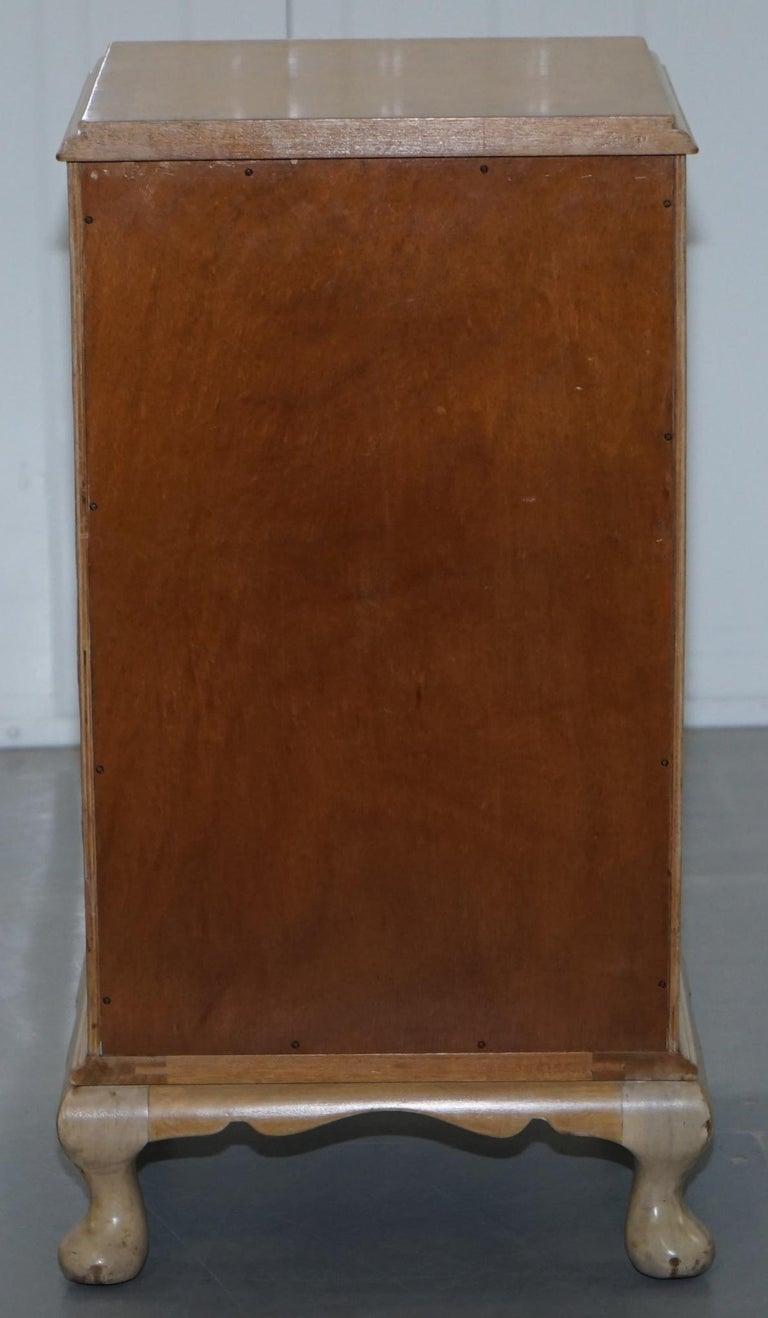 Original Maple & Co Art Deco circa 1930s Burr Walnut Bed Side Table Cabinet For Sale 5