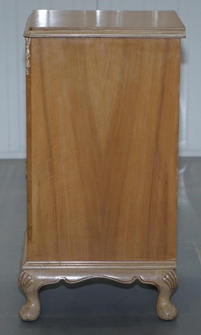 Original Maple & Co Art Deco circa 1930s Burr Walnut Bed Side Table Cabinet For Sale 6