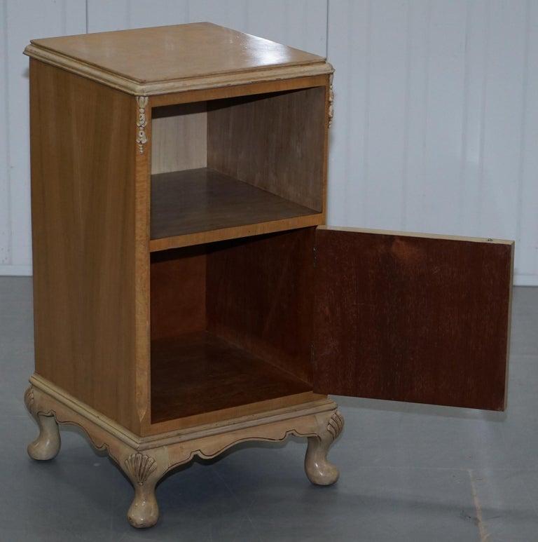 Original Maple & Co Art Deco circa 1930s Burr Walnut Bed Side Table Cabinet For Sale 7