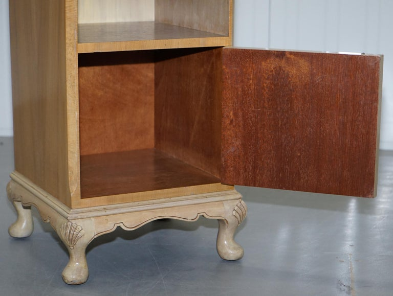 Original Maple & Co Art Deco circa 1930s Burr Walnut Bed Side Table Cabinet For Sale 8