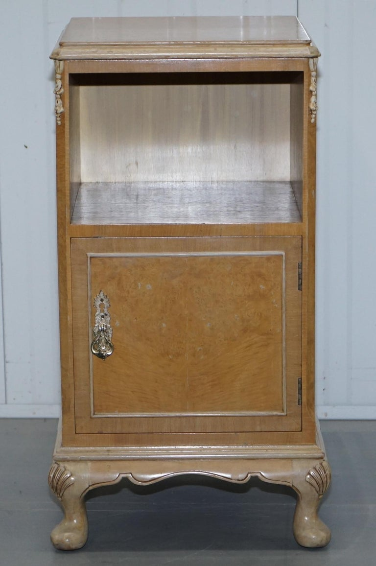 We are delighted to offer for sale this original Maple & Co Art Deco circa 1930s burr quarter cut Walnut bedside table cupboard which is part of a suite.  As mentioned this is part of a suite, I have a small armoire, a medium wardrobe and dressing
